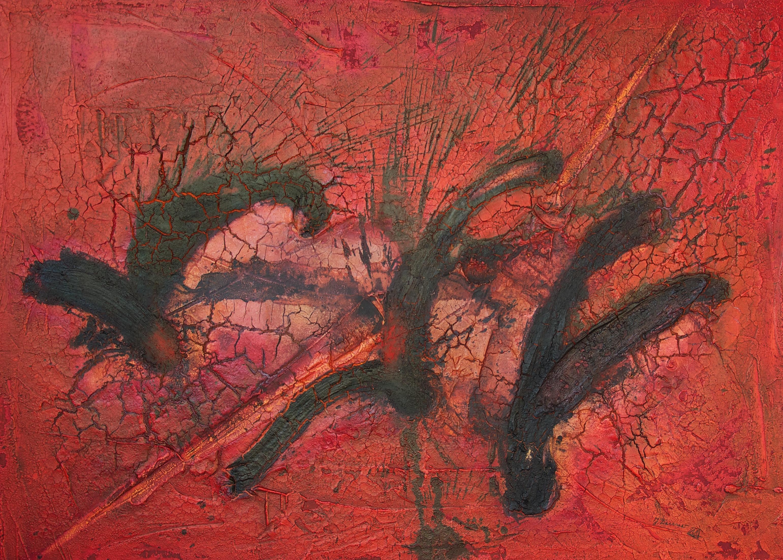 Leinwand_Marmormehl_Pigmente_Öl_Tusche_Beize_115 x 160 cm