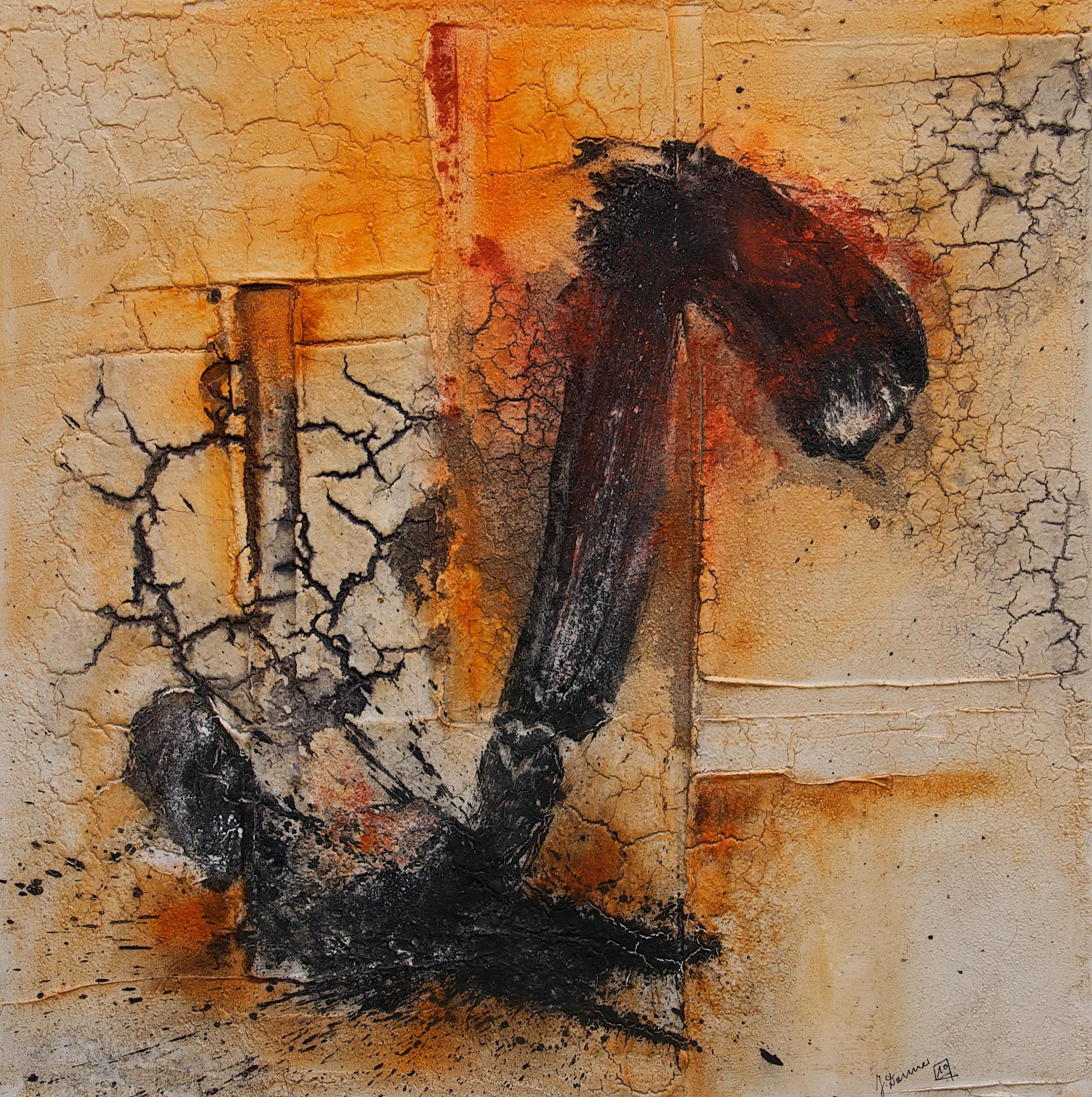 Leinwand_Marmormehl_Pigmente_Öl_Tusche_Beize_100 x 120 cm