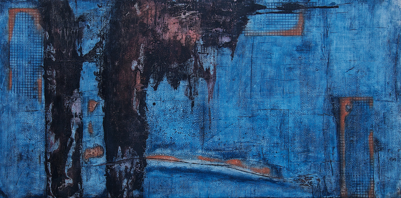 Fresko/Intonaco_ Sumpfkalk_Pigmente_Tusche_Beize_Schellack_Bauplatte_60 x 120 cm