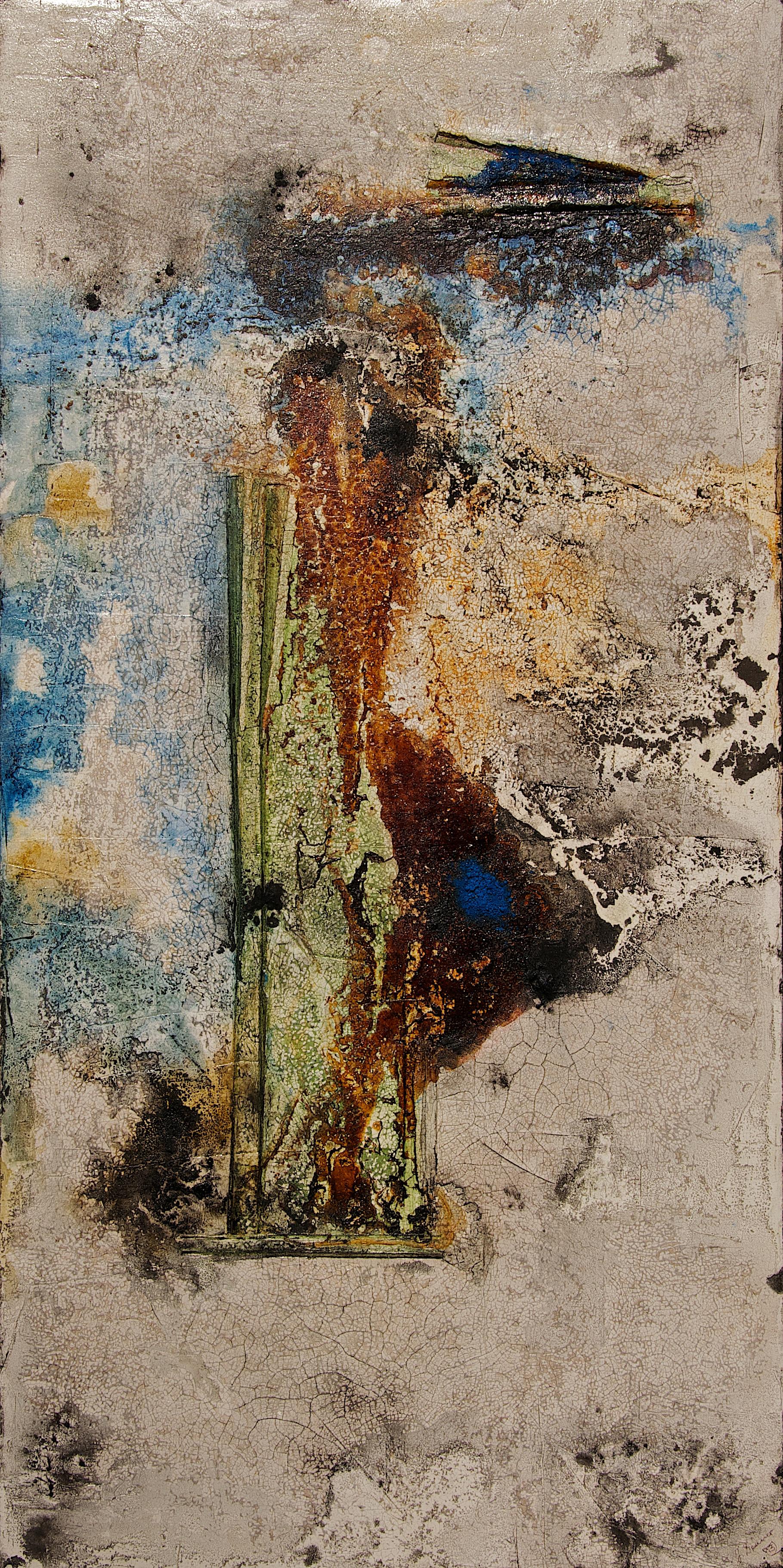 Fresko/Intonaco_ Sumpfkalk_Pigmente_Tusche_Beize_Schellack_Bauplatte_120 x 60 cm