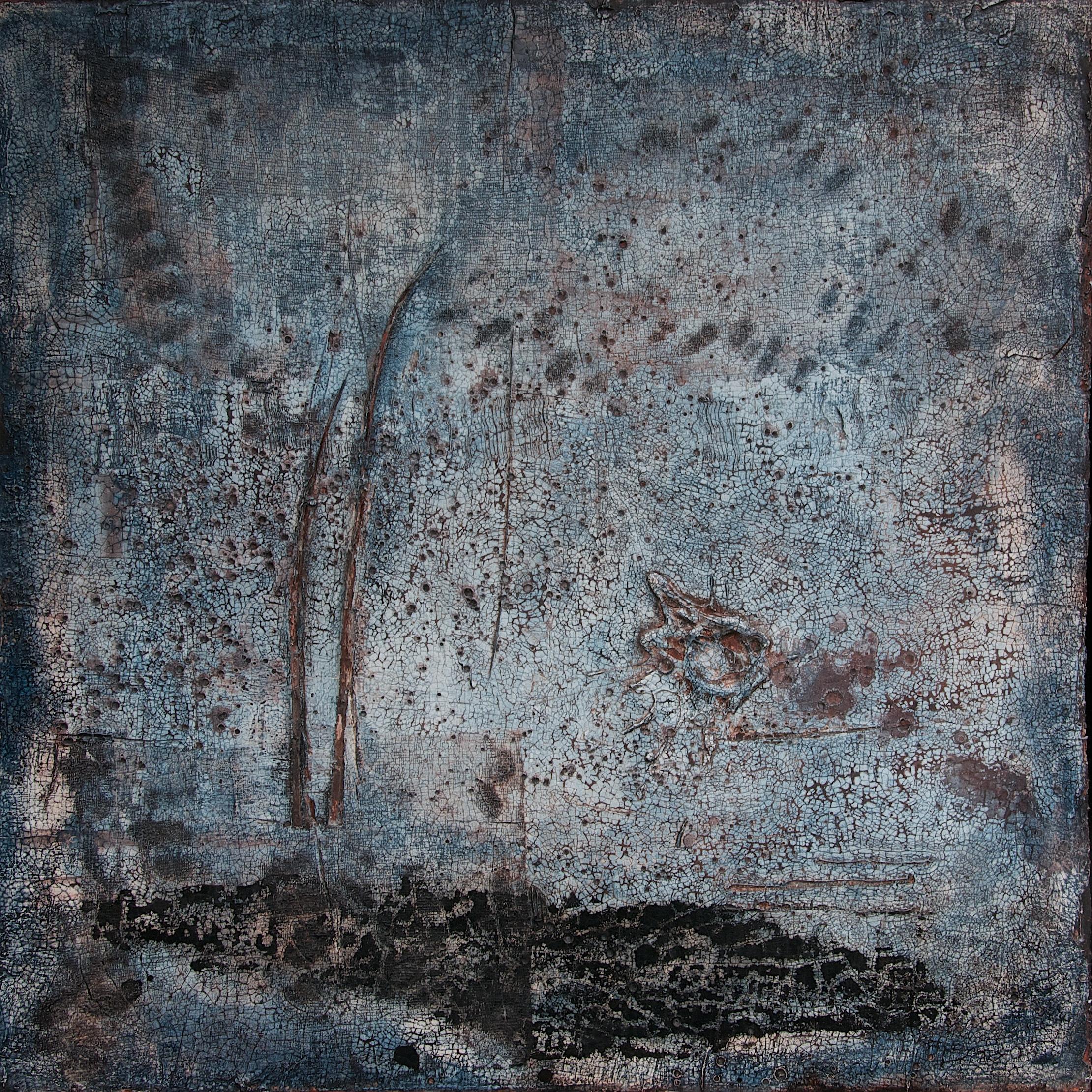 Fresko/Intonaco_ Sumpfkalk_Pigmente_Tusche_Beize_Schellack_Bauplatte_60 x 60 cm