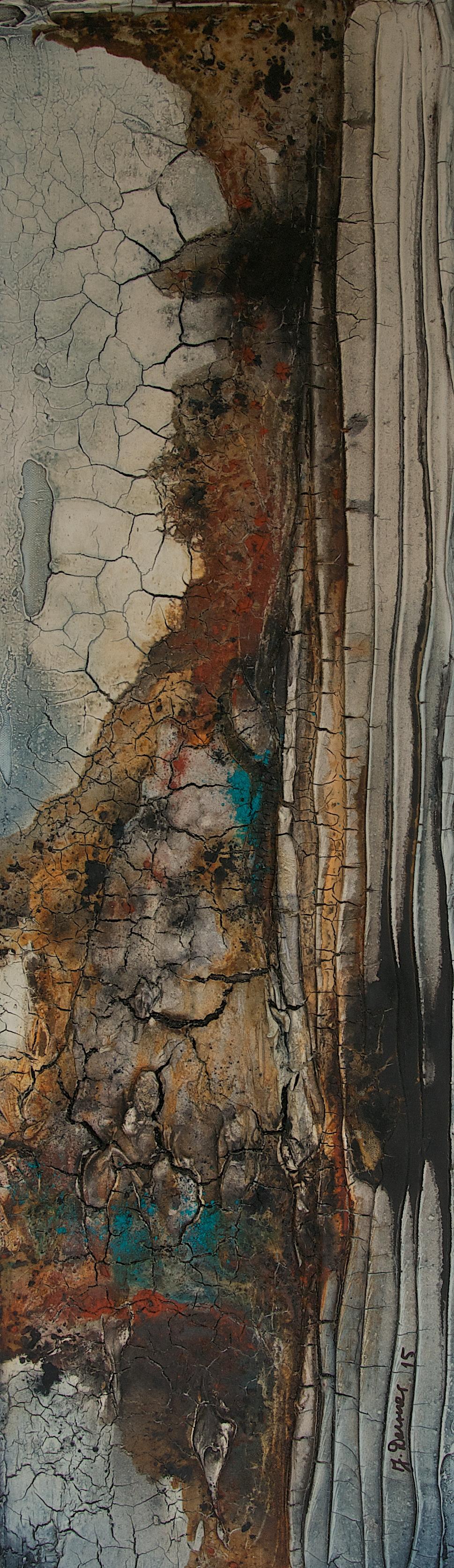 Marmormehl_Pigmente_Binder_Beize_Tusche_Leinwand  30 x 100 cm