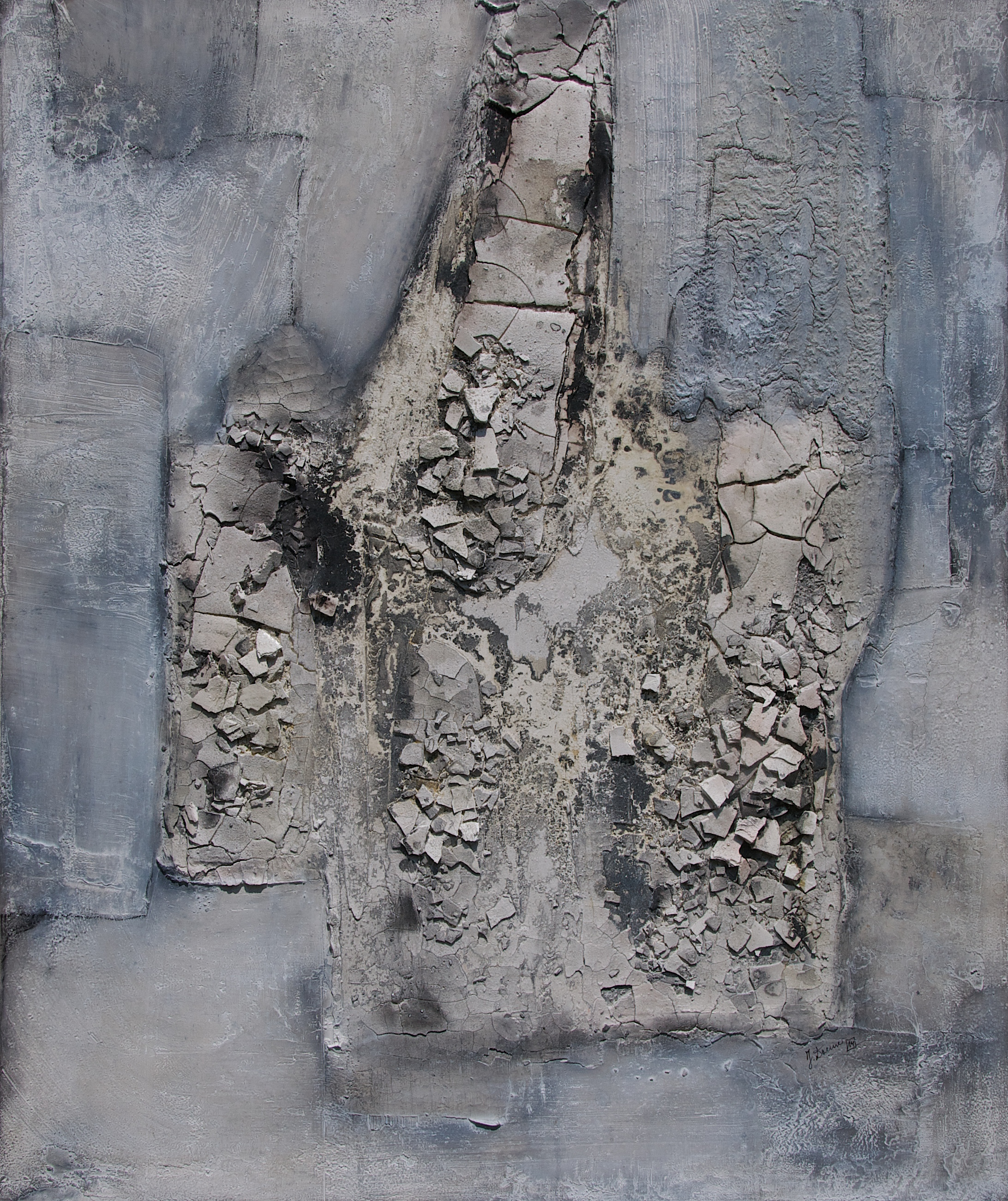 Leinwand_Marmormehl_Sumpfkalk_Pigmente_Kohle_Dispersionsbinder_ 120 x 100 cm