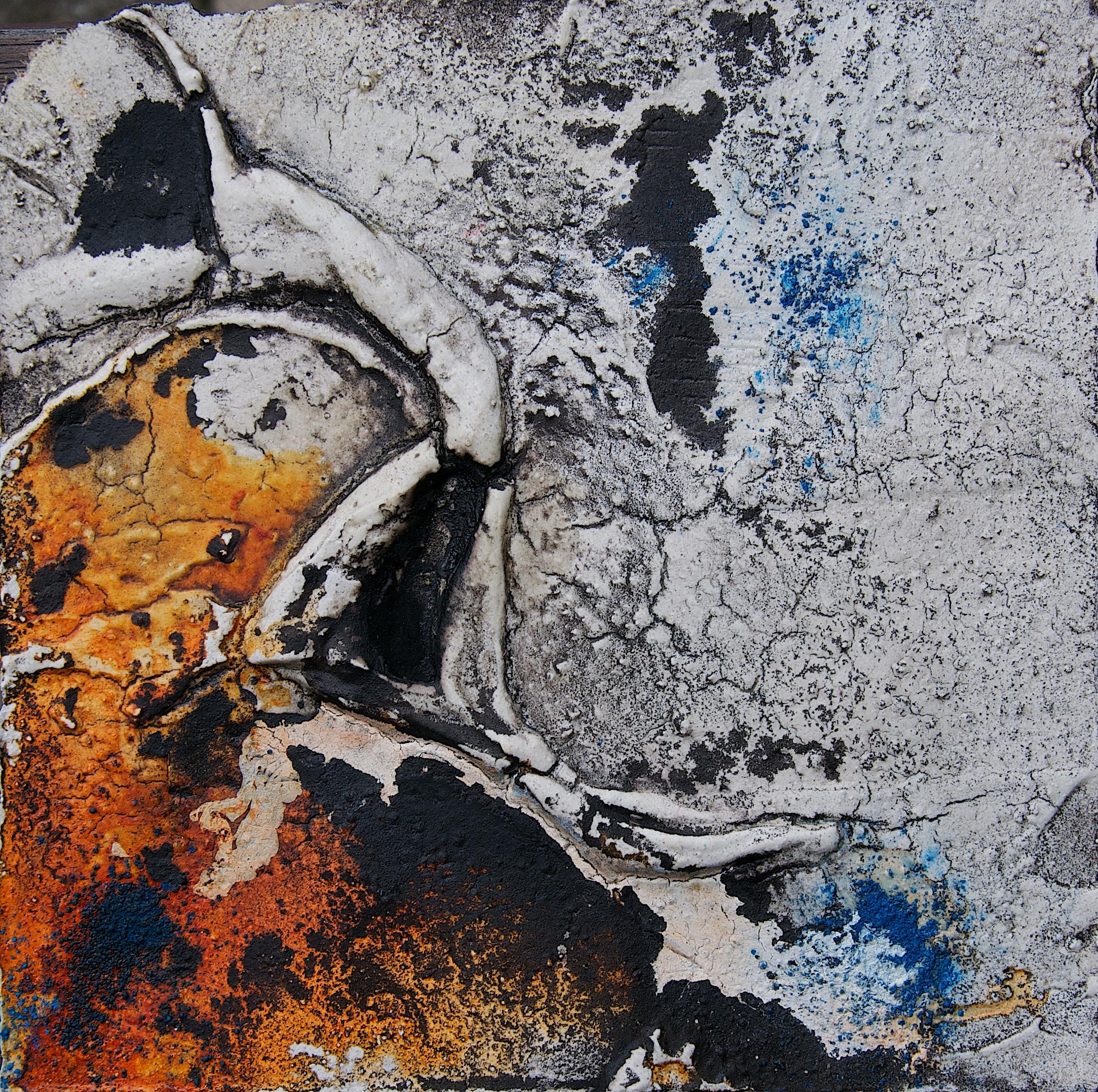 Büttenpapier_Marmormehl_Pigmente_Öl_Tusche_Beize_18 x 18 cm