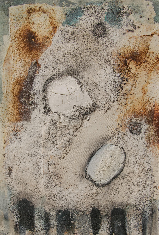 Marmormehl_ Sumpfkalk_Beize_Rost_Tusche_ Kohle auf Büttenpapier  30 x 40 cm
